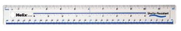 "HELIX 12""/30cm CLEAR RULER SHATTER-PROOF CLEAR PLASTIC RULER - SINGLE"